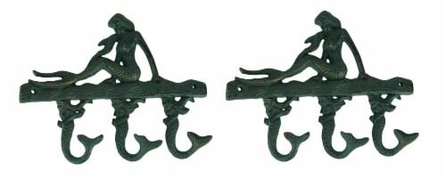 Green Verdigris Cast Iron Sitting Mermaid Wall Hook Rack Set of 2 Perspective: front