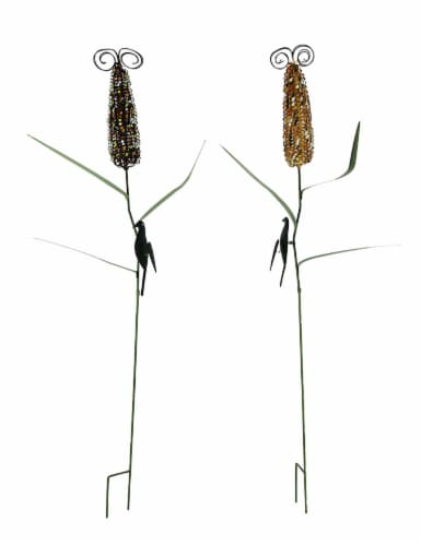 Colorful Metal Corn Cob Stalks Garden Stake Set of 2 Perspective: front