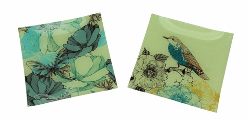 Set of 2 Nature's Poetry Painted Bird and Butterfly Square Glass Plates Perspective: front