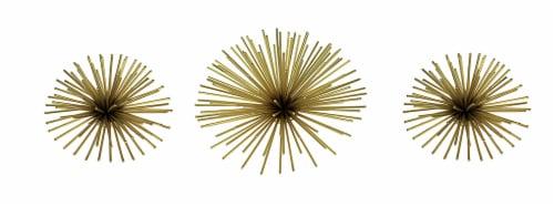 Mid-Century Modern Style Metallic Gold Metal 3D Starburst Wall Hanging Set of 3 Perspective: front
