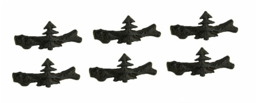 Set of 12 Cast Iron Pine Tree Drawer Pulls Perspective: front