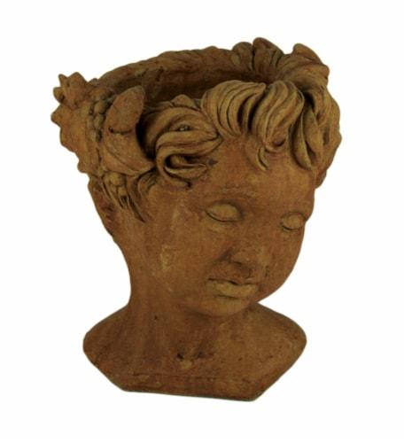 Designer Stone Rustic Brown Cherub Head Concrete Planter Perspective: front
