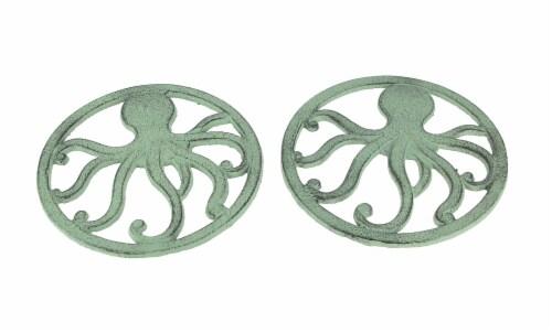 Distressed Aquamarine Coastal Cast Iron Octopus Sea Foam Green Trivet Set of 2 Perspective: front