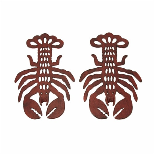 Distressed Red Cast Iron Lobster Shaped Trivet Set of 2 Perspective: front