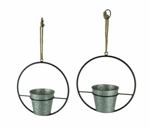 Rustic Metal Hoop Indoor Outdoor Hanging Planters Set of 2 Perspective: front