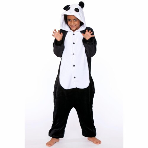 Be Wicked C1813-C 10-14 Unisex Panda Child One Piece, White & Black - 10-14 Years Perspective: front