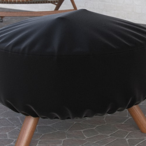 Dura Covers LRFP5528 32 in. Black Heavy Duty Durable & Water Resistant Round Fire Pit Cover Perspective: front