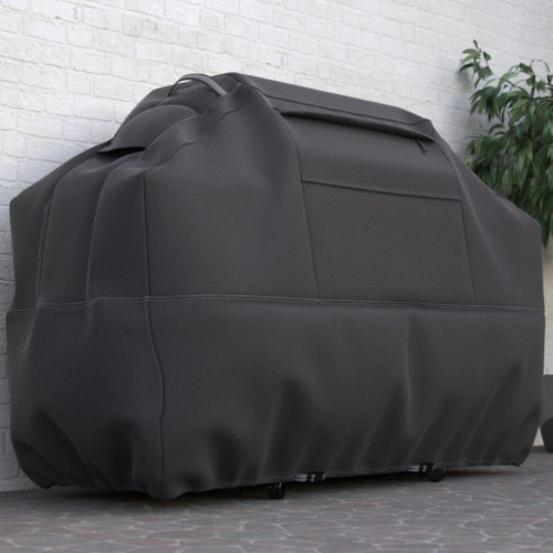 Dura Covers LRFP5525 Taupe 58 in. Premium Heavy Duty 3, 4, or 5 Burner BBQ Cover with Reinfor Perspective: front