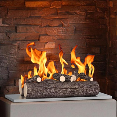 Regal Flame RFA5005 16 in. Ceramic Wood Gas Fireplace Logs, Oak - 5 Piece Perspective: front