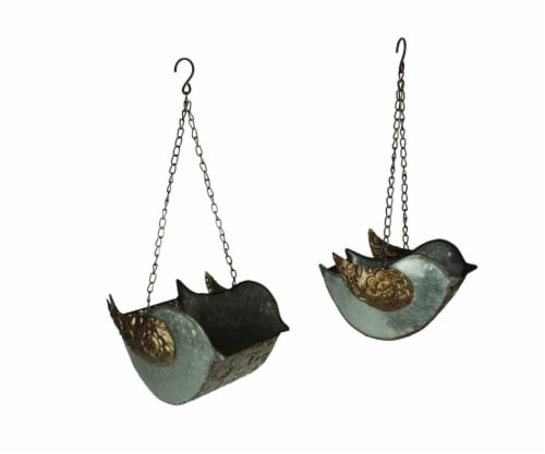 Set of 2 Galvanized Finish Embossed Hanging Metal Bird Planters Perspective: front