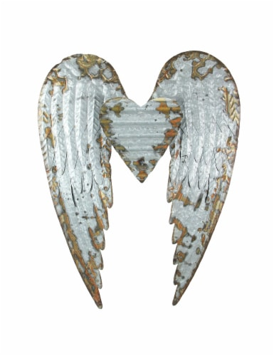 Galvanized Metal Winged Heart Wall Sculpture Perspective: front
