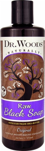 Dr. Woods Naturally Raw Black Soap Original with Fair Trade Shea Butter Perspective: front