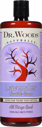 Dr. Woods Naturally Castile Soap Lavender with Fair Trade Shea Butter Perspective: front