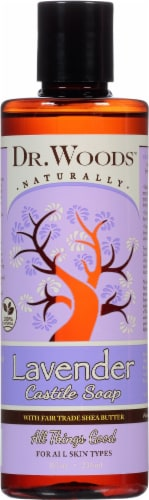 Dr. Woods Naturally Castile Soap with Fair Trade Shea Butter Lavender Perspective: front