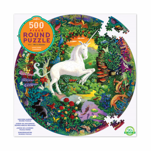 eeBoo Unicorn Garden Round Puzzle Perspective: front