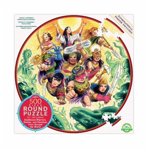 eeBoo Goddesses and Warriors Round Puzzle Perspective: front