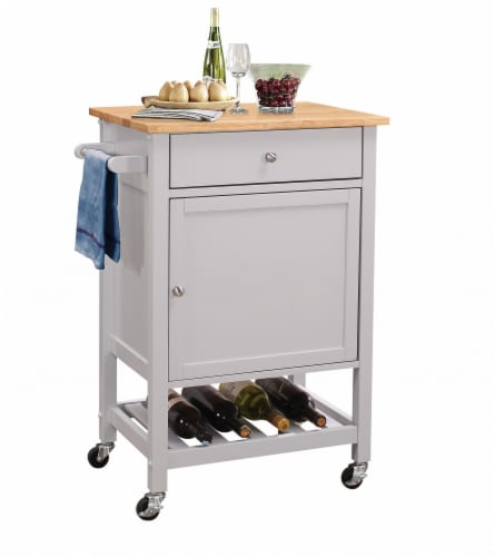 """25"""" X 17"""" X 34"""" Natural And Gray Rubber Wood Kitchen Cart Perspective: front"""