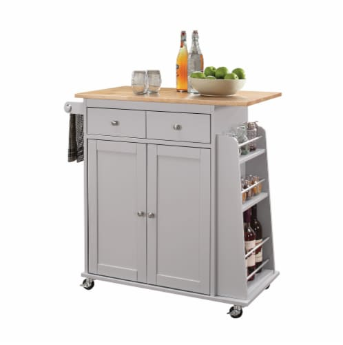 "35"" X 18"" X 34"" Natural And Gray Rubber Wood Kitchen Cart Perspective: front"