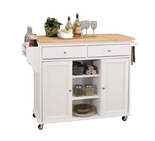 """47"""" X 18"""" X 34"""" Natural And White Kitchen Island Perspective: front"""