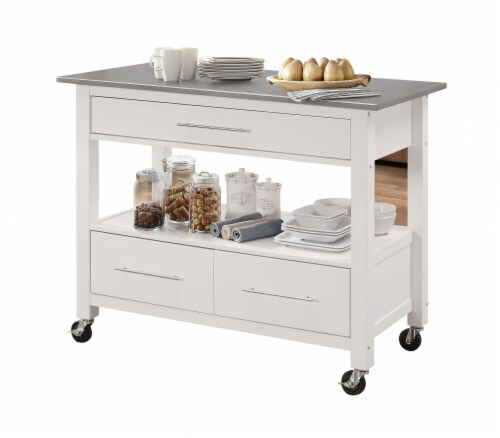 "43"" X 22"" X 36"" Stainless Steel And White Kitchen Island Perspective: front"
