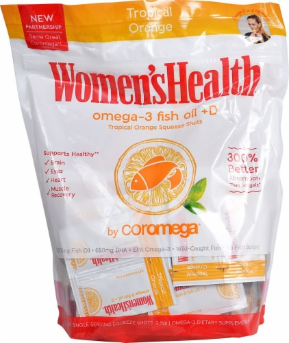 Coromega  Omega-3 Fish Oil + D Squeeze Shots   Tropical Orange Perspective: front