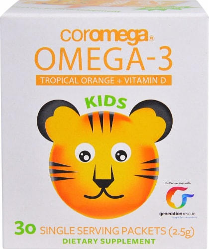 Coromega Omega 3 Kids Tropical Orange Supplement Packets Perspective: front