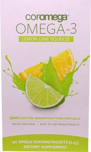 Coromega  Omega-3 Squeeze   Lemon Lime Perspective: front