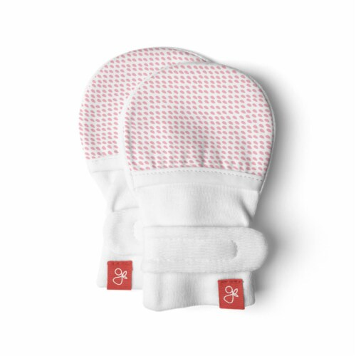Goumikids Soft Organic Stay On No Scratch Baby Infant Mittens, 0-3M Drops Pink Perspective: front