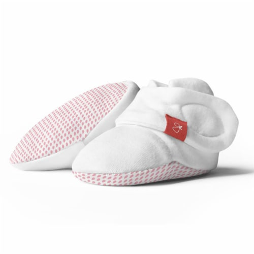 Goumikids Super Soft Organic Stay On Baby Boots Infant Booties, 3-6M Drop Pink Perspective: front