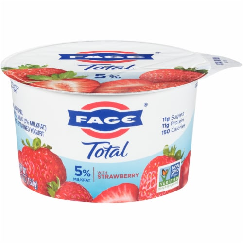 Fage Total 5% Milkfat Strawberry Greek Yogurt Perspective: front