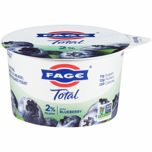 Fage Total 2% Milkfat Blueberry Greek Yogurt Perspective: front