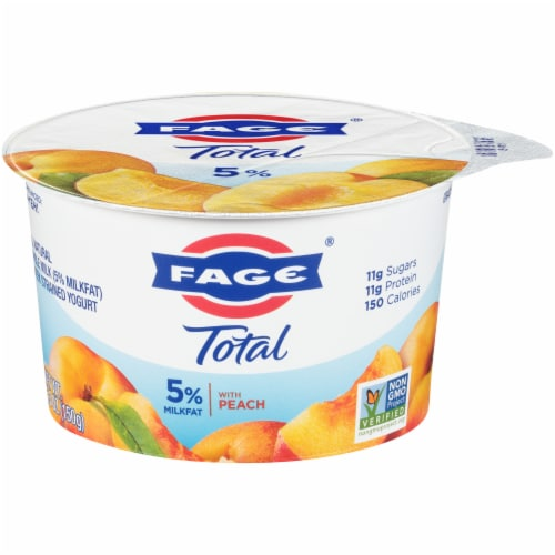 Fage Total 5% Peach Greek Yogurt Perspective: front