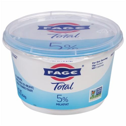 Fage Total 5% Milkfat Plain Greek Yogurt Perspective: front