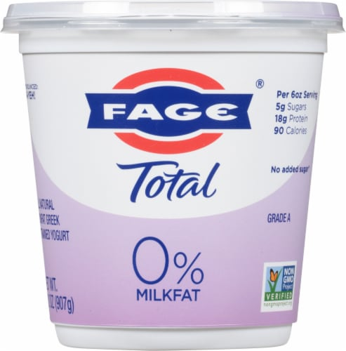 Fage Total 0% Milkfat Plain Greek Yogurt Perspective: front