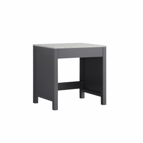 """Jacques 30"""" Dark Grey Make-Up Table, White Carrara Marble Top Perspective: front"""