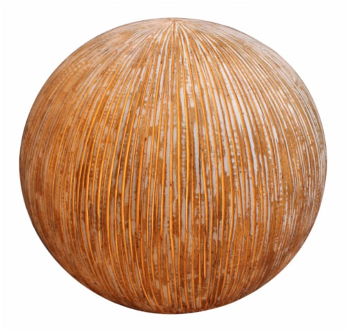"""17"""" X 14"""" Sandstone Ribbed Finish Ball With Light For Outdoor Use Perspective: front"""