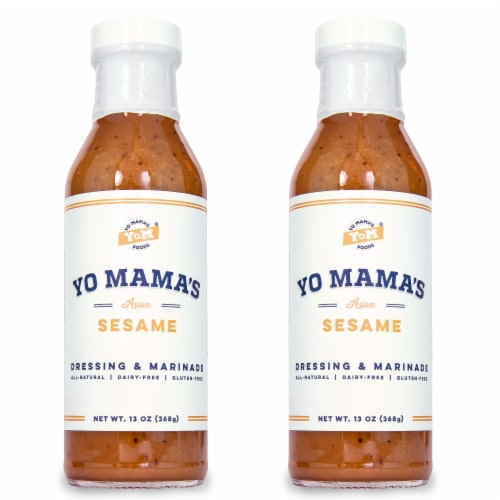 Yo Mama's Foods Gourmet Natural Zesty Sesame Dressing and Marinade (2) Large 13 oz Bottles Perspective: front
