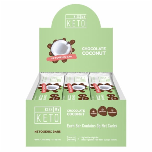 Kiss My Keto Chocolate Coconut Flavor Ketogenic Bars Perspective: front