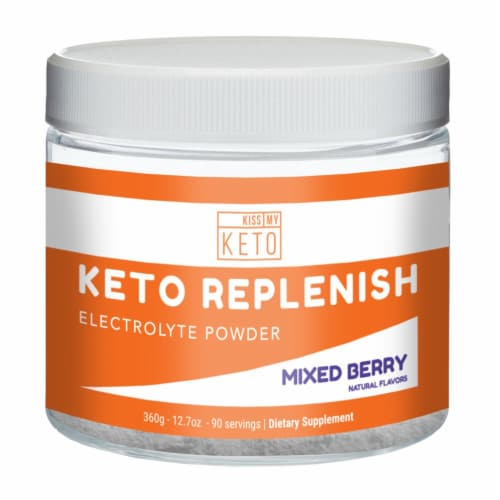 Kiss My Keto Mixed Berry Flavor Replenish Electrolyte Powder 90 Servings Perspective: front