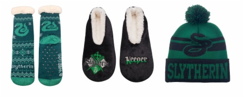 MTI Harry Potter Slytherin Sock/Slipper/Beanie Set Perspective: front