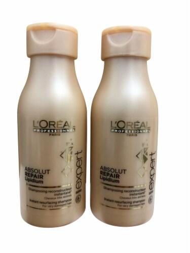 L'Oreal Absolut Repair Lipidium Shampoo  3.4 OZ Travel Size set of Two Perspective: front