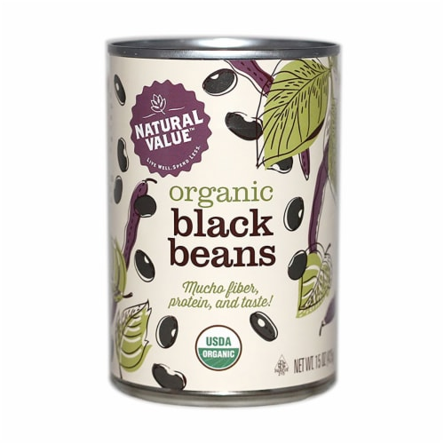 Natural Value Organic Black Beans / 15-oz. cans / 6-pack Perspective: front