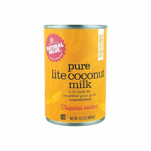 Natural Value Lite Coconut Milk / 13.5 Ounce Cans / 6-pack Perspective: front