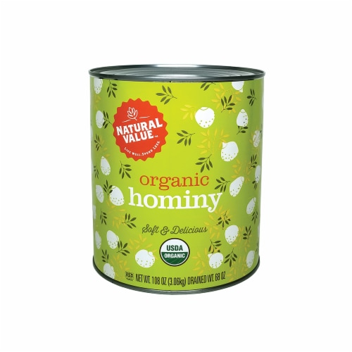 Natural Value 108-oz. Food Service Size Organic Hominy / 6-ct. case Perspective: front