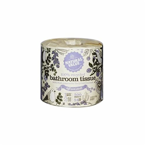 Natural Value 100% Recycled Bathroom Tissue / 12-roll mini case Perspective: front