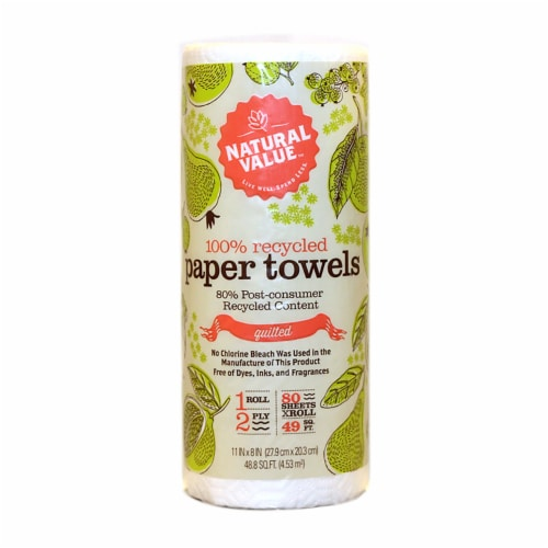 Natural Value 100% Recycled 2-ply Paper Towels / 9-roll mini case Perspective: front