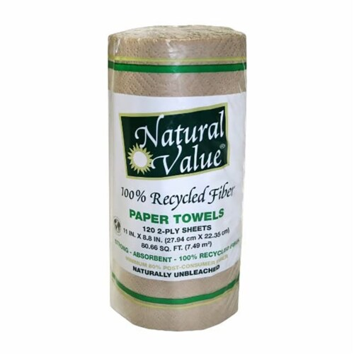 Natural Value 100% Recycled Brown Paper Towels / 8-roll mini case Perspective: front