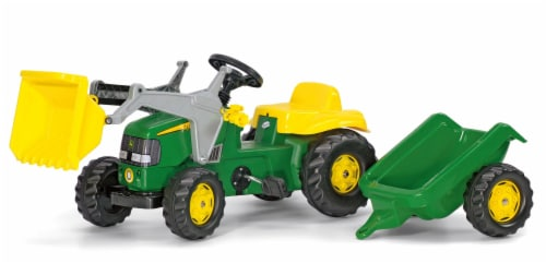 KETTLER John Deere Kid Tractor with Front Loader and Trailer - Green/Yellow Perspective: front
