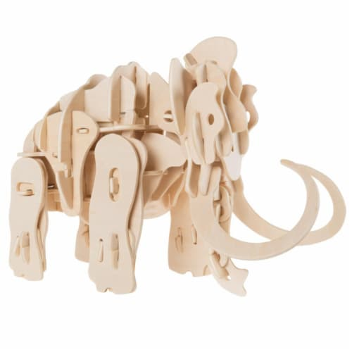 Hey Play 80-A400 3D Wooden Woolly Mammoth Puzzle Perspective: front
