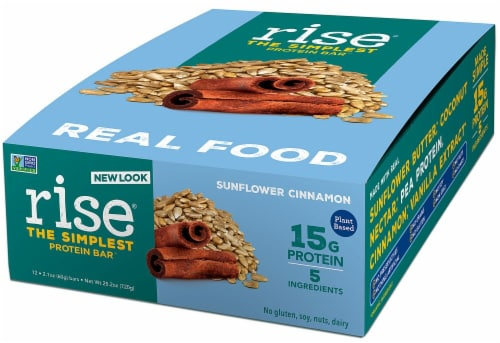 Rise Foods  Plant Protein 15G Bar Gluten Free   Sunflower Cinnamon Perspective: front